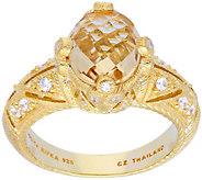 Judith Ripka Sterling & 14K Clad Champagne Quartz Ring - J379486