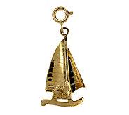 14K Yellow Gold Sailboat Charm - J105787