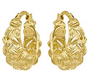 14K Gold Basketweave Textured Hoop Earrings - J344887