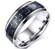 Forza Mens Stainless Black & Blue Carbon FiberRing - J344987