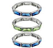 As Is Isaac Mizrahi Live! Set of 3 Crystal Stretch Bracelets - J350587