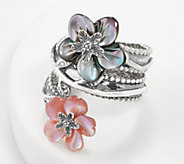 Or Paz Sterling Carved Mother-of- Pearl Flower Gemstone Ring - J361187