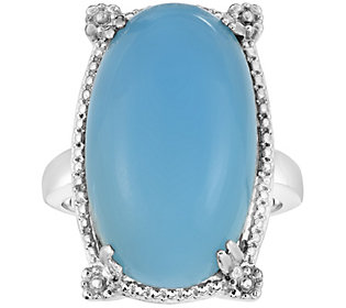 Sterling Oval Blue Chalcedony Bold Ring