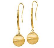 Italian Gold Satin Ball Dangle Earrings, 14K - J385587