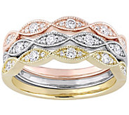 Affinity 14K Tri-Color 2/5 cttw Set of 3 StackRings - J385787