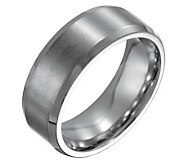 Steel By Design Mens 8mm Beveled Edge BrushedPolished Ring - J109488