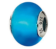 Prerogatives Sterling Blue Matte Italian MuranoGlass Bead - J111788