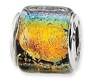 Prerogatives Sterling Rainbow Dichroic Glass Square Bead - J113388