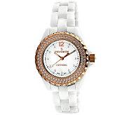 Peugeot Womens Ceramic Swarovski Crystal WhiteDial Watch - J308588
