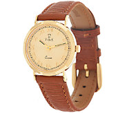 Vicence Round Case Leather Strap Watch, 18K Gold - J321388