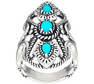 American West Sterling Silver 3 Stone Sleeping Beauty Turquoise Ring - J334088