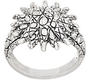 JAI Sterling Silver Croco Texture Sunburst Ring - J354088