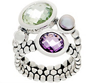 Michael Dawkins Sterling Silver Multi-Gemstone Granulation Drop Ring - J359088