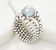 Michael Dawkins Sterling Silver Granulation Drop Cultured Pearl Ring - J361588