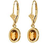 14K Oval Gemstone Leverback Earrings - J376988