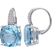 14K 23.25 cttw Sky Blue Topaz & 1/5 cttw Diamond Earrings - J377188