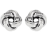 Italian Silver Large Love Knot Post Earrings Sterling - J380088