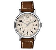 Timex Mens Weekender Brown Leather Strap Analog Watch - J380588