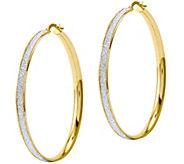 Italian Gold 2 Glitter Round Hoop Earring 14K,4.7g - J382188