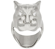 Bronze Polished Panther Head Ring by Bronzo Italia - J325089