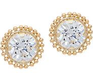 Diamonique Bead Border Stud Earrings, 14K Gold - J334689