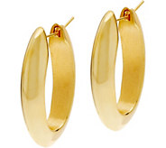 Arte dOro Polished Elongated Oval Hoop Earrings 18K Gold - J335889