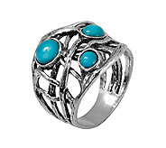 Or Paz Sterling Silver Triple Turquoise Free- Form Band Ring - J339489