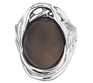 Hagit Sterling Silver Oval Gray Moonstone Ring - J340689