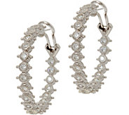 Judith Ripka Sterling Silver 1.55 cttw Diamonique Hoop Earrings - J347889