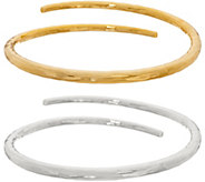 RLM Bronze Two Tone Set of Two Hammered Bypass Bangles - J348489