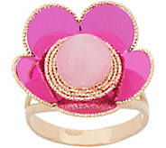 Italian Gold Gemstone Flower Ring, 14K Gold - J357289