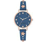 Nine West Womens Rosetone Star & Moon Blue Watch - J384289