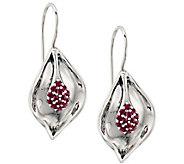 Hagit Sterling Silver Ruby Cluster Dangle Earrings - J385189