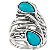 Hagit Sterling Turquoise Wave Ring - J385389