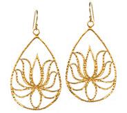 Satya Gold Teardrop Lotus Earrings, Goldtone Brass - J387589