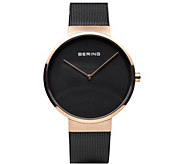 Bering Unisex Rosetone IP-Plated Milanese Bracelet Watch - J387989