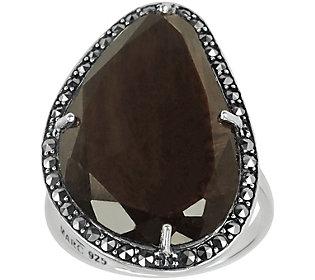 Suspicion Sterling Brown Sapphire & Marcasite Ring