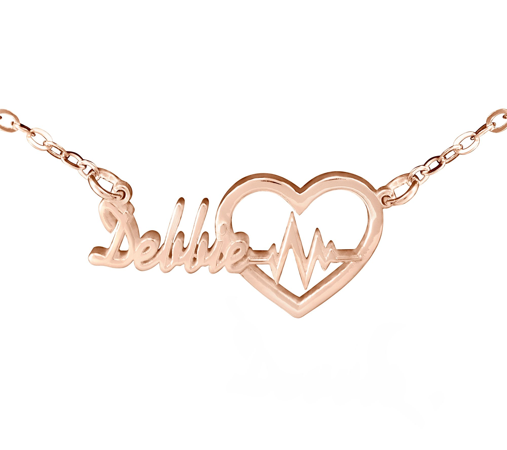75797079067cb 14K Rose Gold-Plated Personalized Heartbeat Nam e Necklace — QVC.com