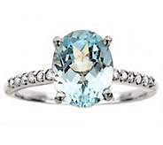 Sterling Silver 1.80 cttw Gemstone & 1/8 cttw Diamond Ring - J315790
