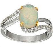 Ethiopian Opal & White Zircon Sterling Silver Ring - J330490