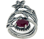 Or Paz Sterling Silver 1.25 ct Ruby and Flower Bypass Ring - J347090
