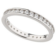 Diamonique 3/4 cttw Round Silk Fit Eternity Band, Platinum Clad - J34990