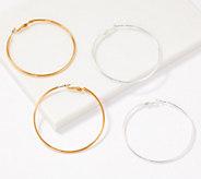 Joan River Set of 2 Leah Hoops Earrings with Omega Back - J365890