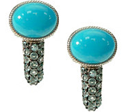 Judith Ripka Sterling Turquoise & Blue Topaz Earrings - J376590
