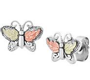 Black Hills Butterfly Post Earrings Sterling/12K Gold - J377090