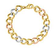 14K Tri-color Curb Link Bracelet, 12.0g - J378790