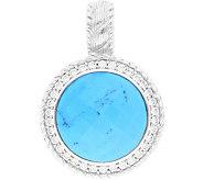 Judith Ripka Sterling Turquoise & Diamonique Enhancer - J379990