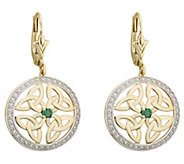 Solvar 14K Diamond & Emerald Trinity Knot DropEarrings - J383390