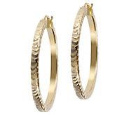 Veronese 18K Clad 1-1/2 Round Textured Hoop Earrings - J390890