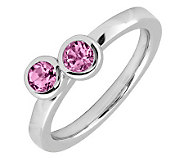 Simply Stacks Sterling & Pink Tourmaline DoubleCircle Ring - J299391